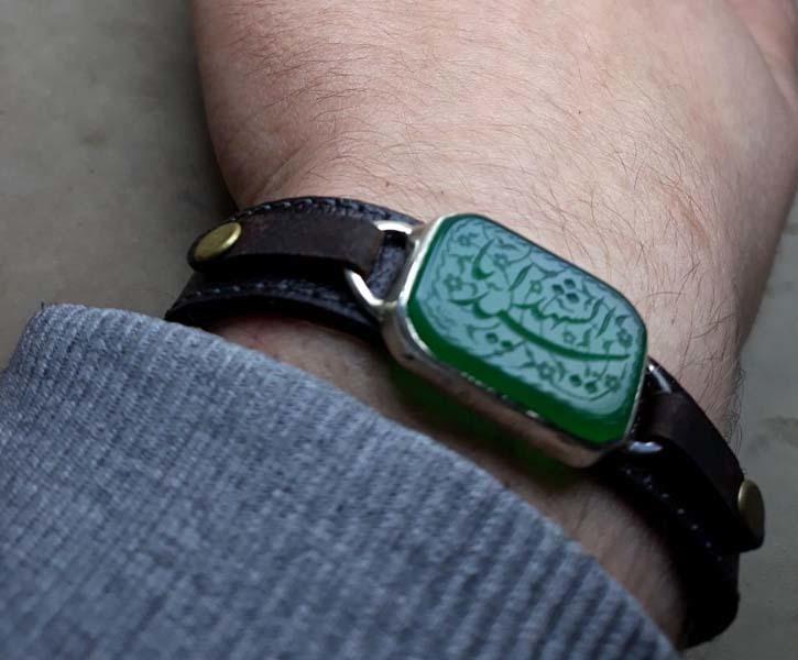 ست انگشتر و دستبند چرم گاوی عقیق سبز خطی