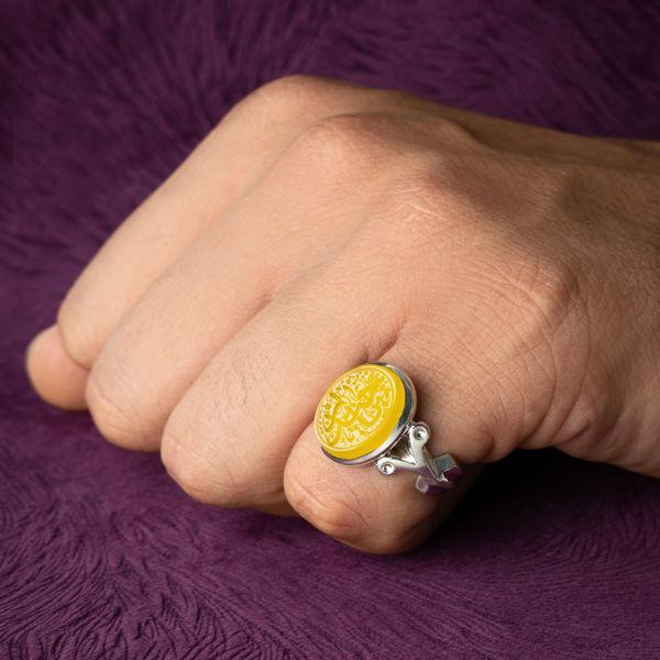 انگشتر مردانه عقیق زرد خطی دستساز