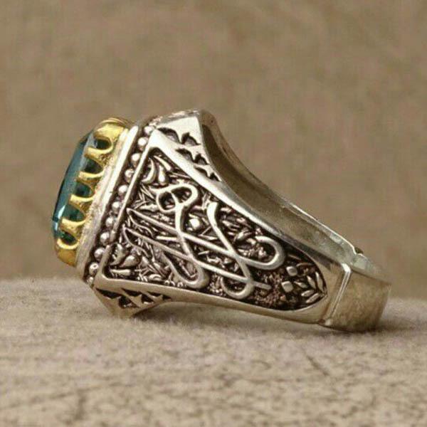 انگشتر مردانه توپاز سبز معدنی