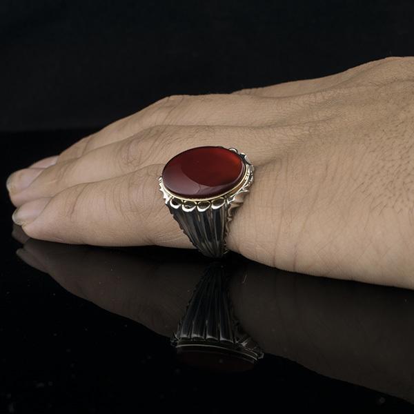 انگشتر مردانه عقیق سرخ یمنی دست ساز
