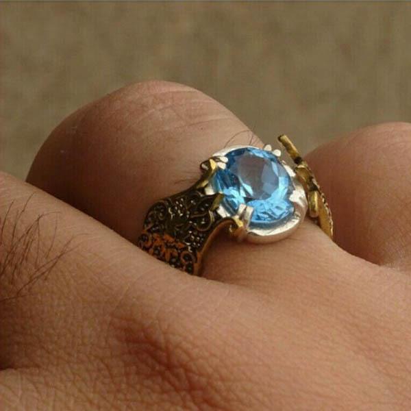 انگشتر نقره مردانه توپاز آبی سوئیس