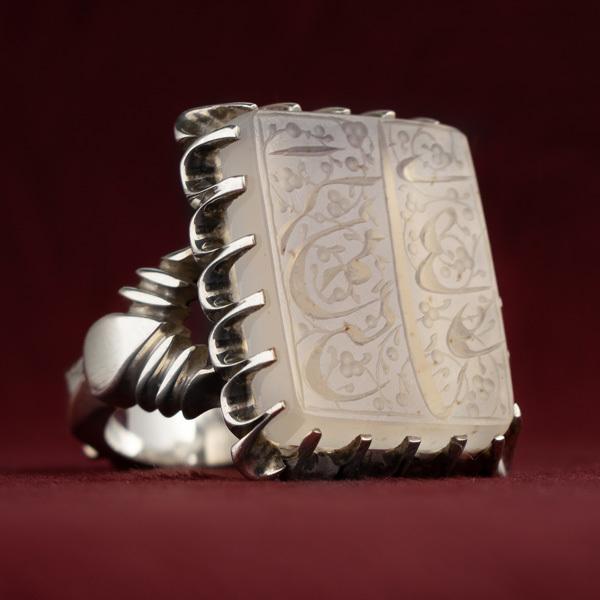 انگشتر نقره مردانه عقیق نباتی یمنی خطی دست ساز