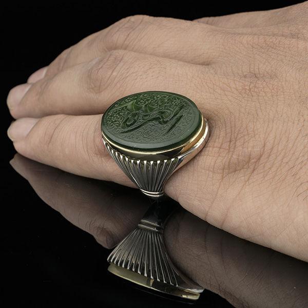 انگشتر مردانه یشم خطی دست ساز