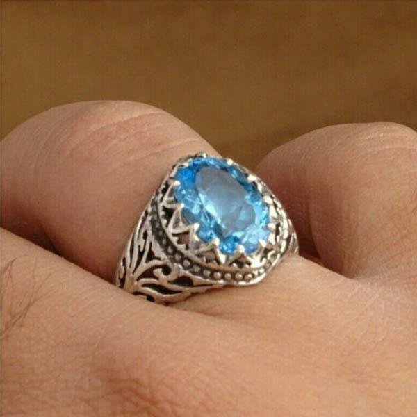 انگشتر مردانه توپاز سوییس معدنی