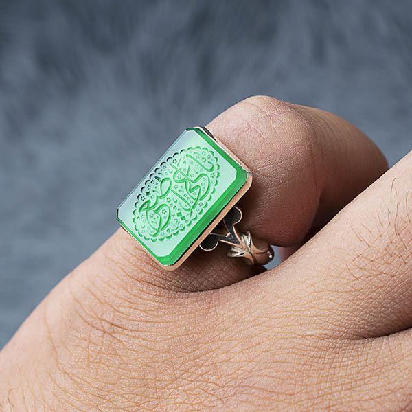 انگشتر مردانه عقیق سبز خطی دست ساز