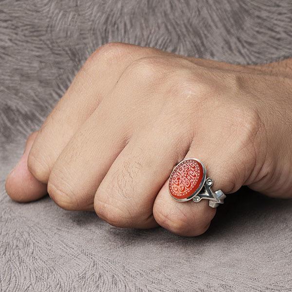 انگشتر مردانه عقیق سرخ یمن خطی دستساز