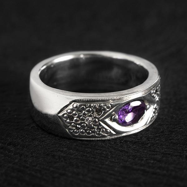 حلقه ازدواج نقره مردانه آمتیست دستساز