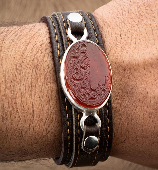 دستبند چرم مردانه عقیق سرخ یمنی