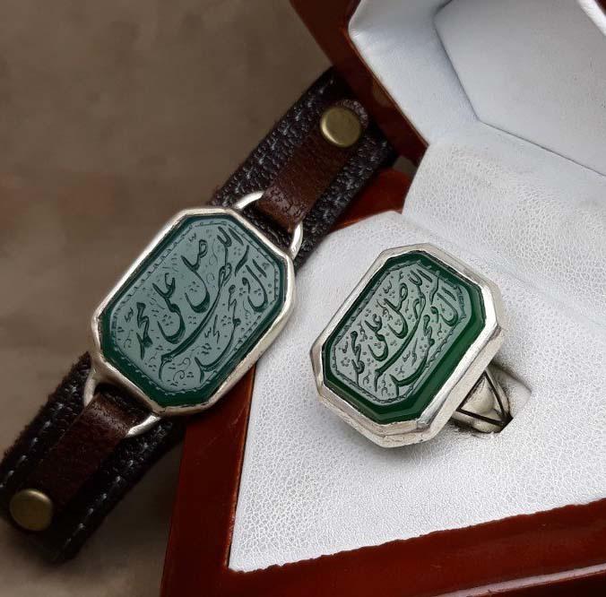 ست انگشتر و دستبند عقیق سبز خطی
