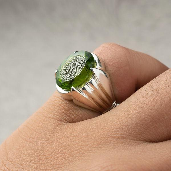 انگشتر مردانه یاقوت زبرجد خطی دست ساز