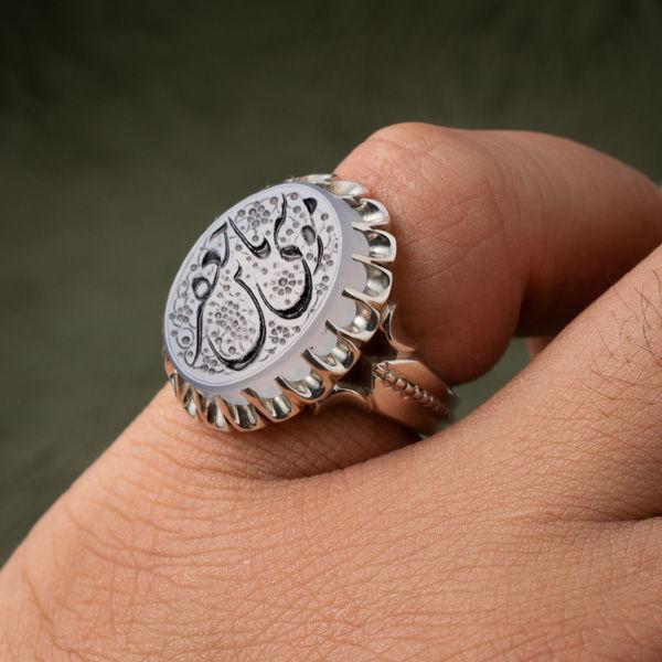 انگشتر نقره مردانه عقیق کبود یمانی خطی دست ساز