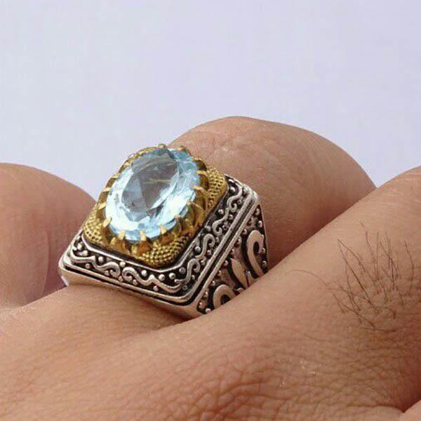 انگشتر مردانه توپاز سوئیس معدنی