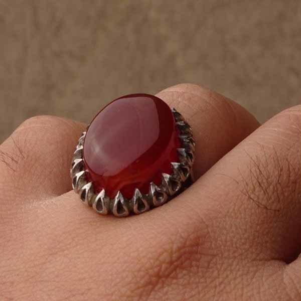 انگشتر نقره مردانه عقیق قرمز یمانی