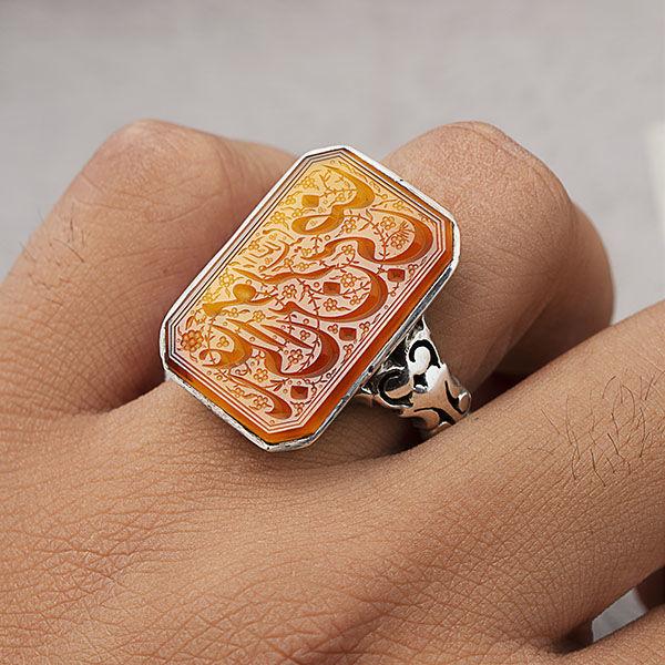 انگشتر مردانه عقیق پرتقالی خطی دستساز