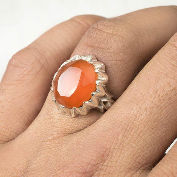 انگشتر مردانه عقیق پرتقالی یمانی دستساز