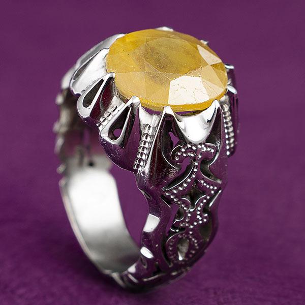 انگشترمردانه یاقوت زرد افریقایی دست ساز