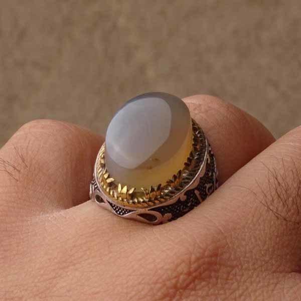 انگشتر نقره مردانه عقیق نباتی یمنی اصل