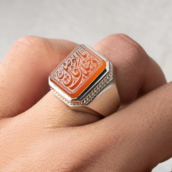 انگشتر نقره مردانه عقیق پرتقالی یمانی خطی دستساز