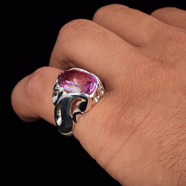 انگشتر مردانه توپاز صورتی دست ساز