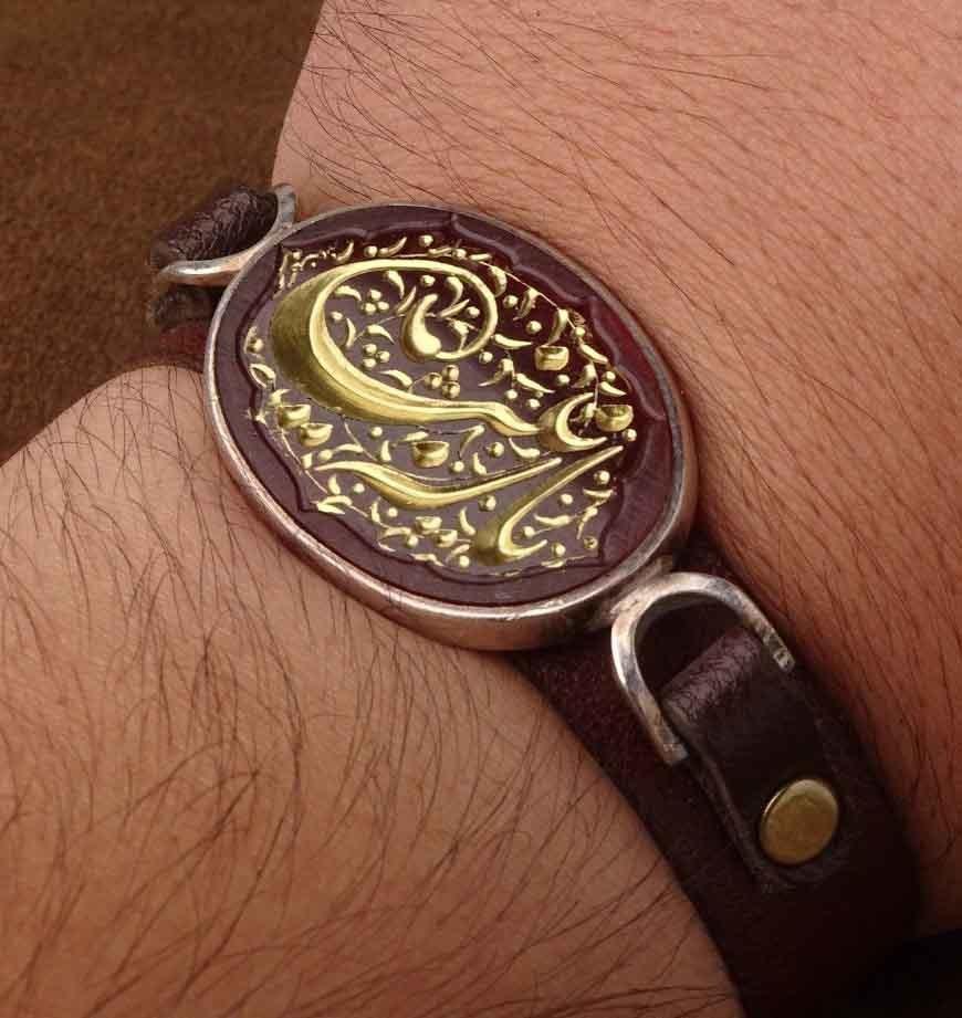 دستبند چرم عقیق سرخ خطی