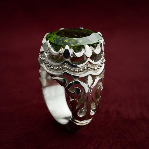 انگشتر مردانه یاقوت زبرجد دست ساز