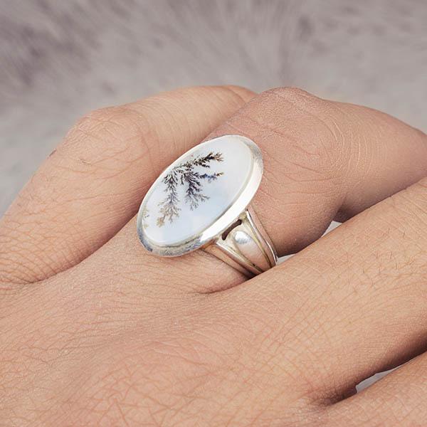 انگشتر مردانه عقیق شجر دست ساز