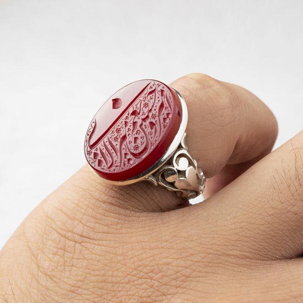 انگشتر نقره مردانه عقیق سرخ خطی دستساز