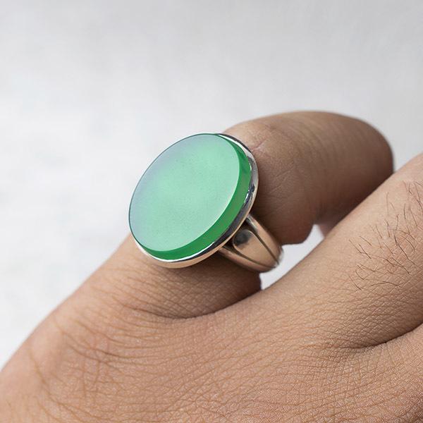 انگشتر مردانه عقیق سبز دستساز