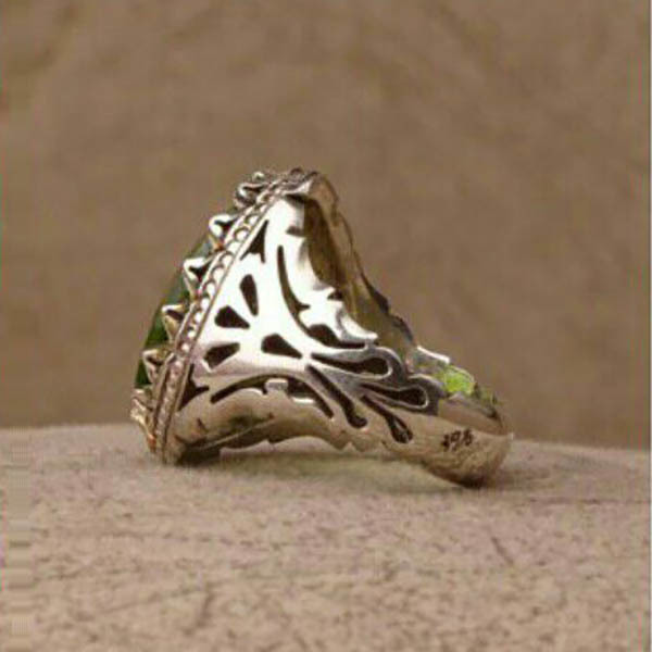 انگشتر فاخر مردانه زبرجد دستساز