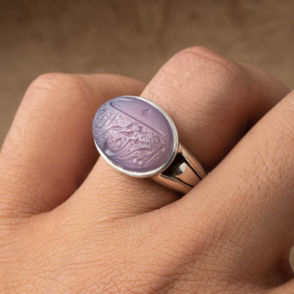 انگشتر مردانه عقیق یاسی یمانی خطی دستساز