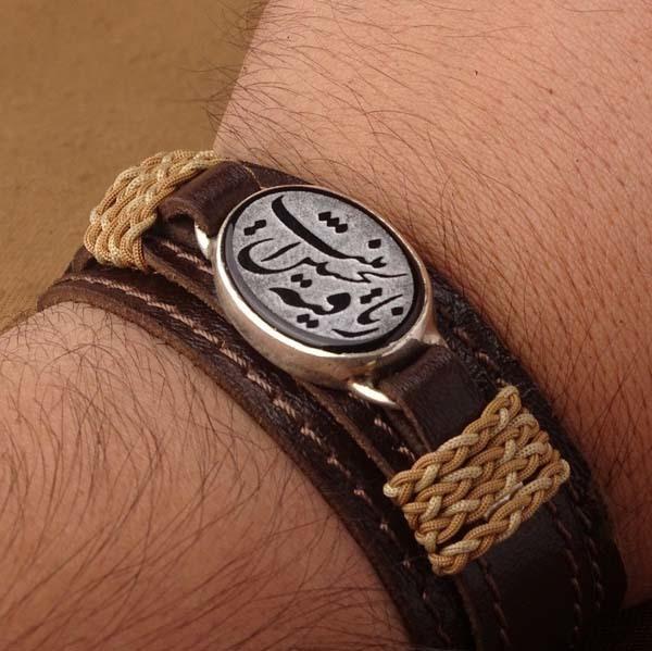 دستبند چرم عقیق مشکی خطی