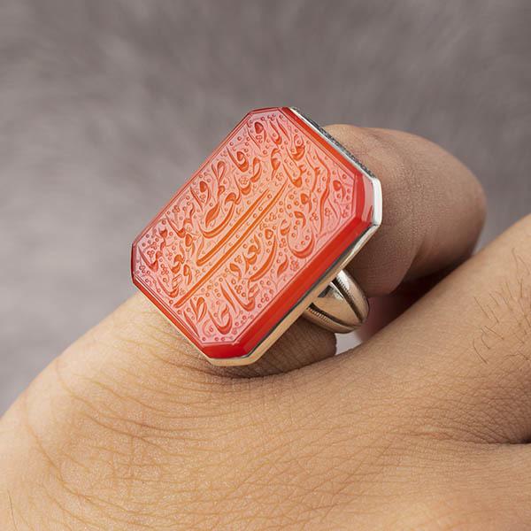 انگشتر مردانه عقیق سرخ خطی دستساز