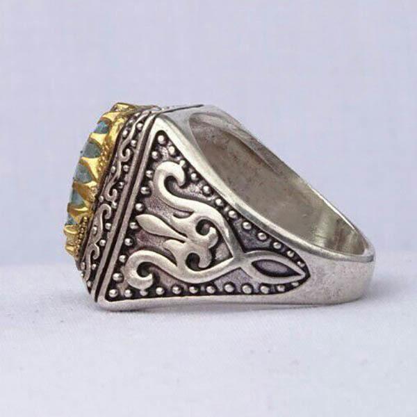 انگشتر نقره مردانه توپاز سوئیس اصل