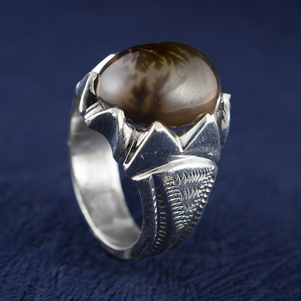 انگشتر مردانه عقیق شجر طبیعی دستساز