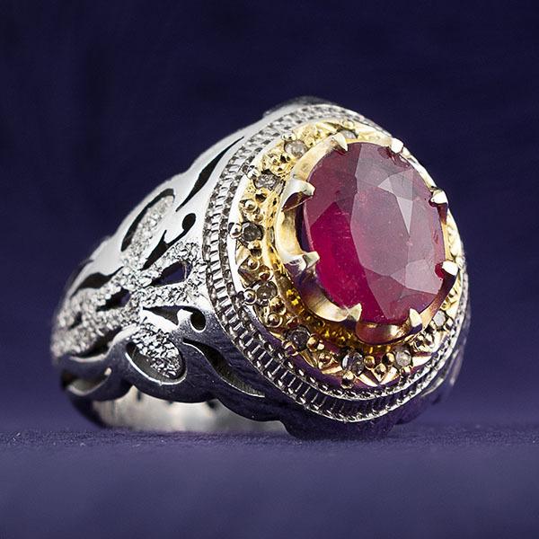 انگشتر مردانه یاقوت سرخ معدنی دست ساز