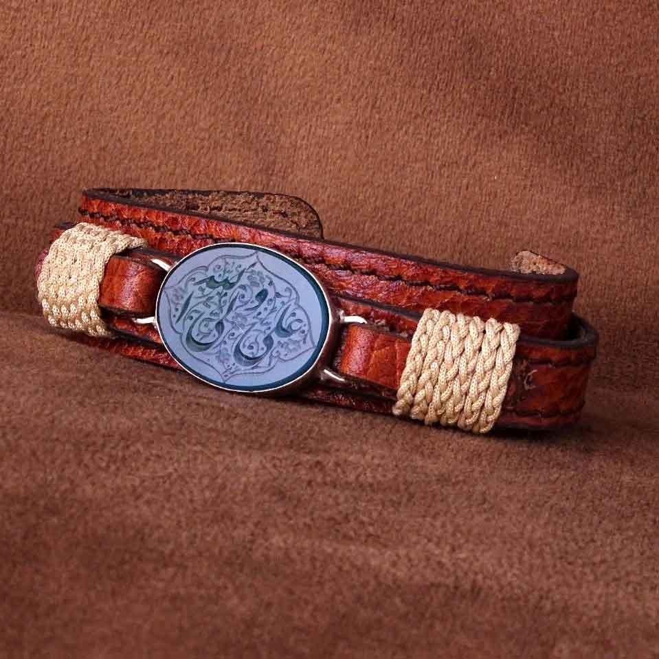 دستبند چرم عقیق سبز خطی