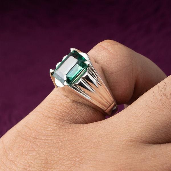انگشتر مردانه توپاز سبز دست ساز