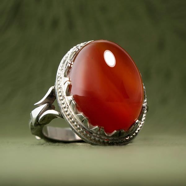 انگشتر نقره مردانه عقیق پرتقالی دستساز