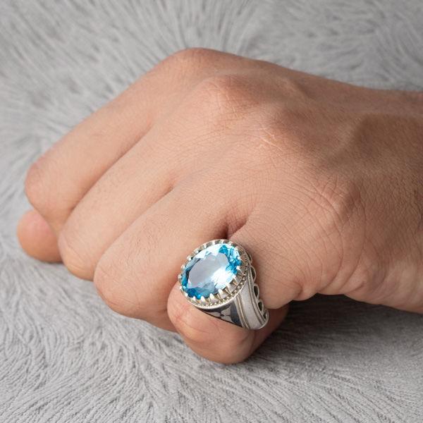 انگشتر مردانه توپاز دست ساز