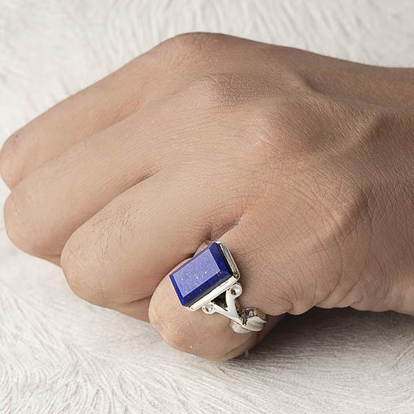 انگشتر نقره مردانه لاجورد دست ساز