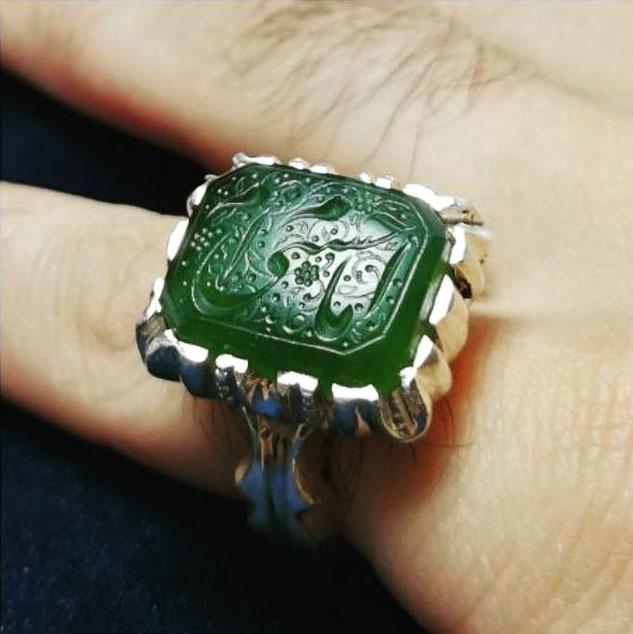 انگشتر مردانه یشم معدنی دست ساز