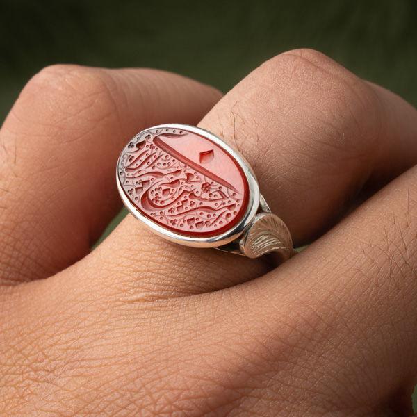 انگشتر نقره مردانه عقیق سرخ یمنی خطی دست ساز