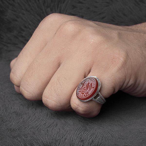 انگشتر مردانه عقیق قرمز یمنی خطی دستساز