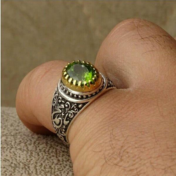 انگشتر مردانه زبرجد اصل و معدنی