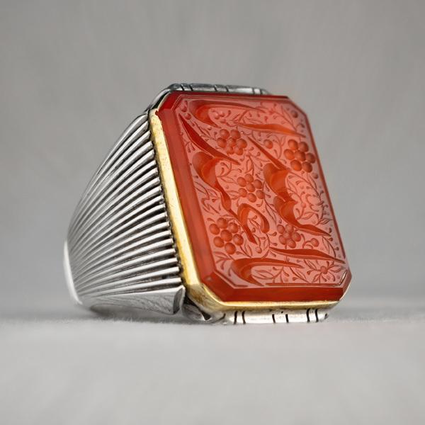 انگشتر نقره مردانه عقیق پرتقالی خطی دست ساز