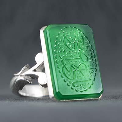 انگشتر نقره مردانه عقیق سبز خطی دستساز