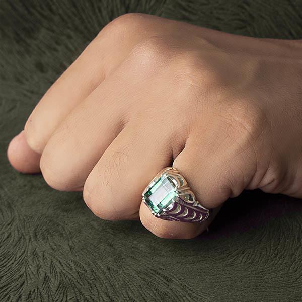 انگشتر مردانه توپاز سبز سوئیس دست ساز
