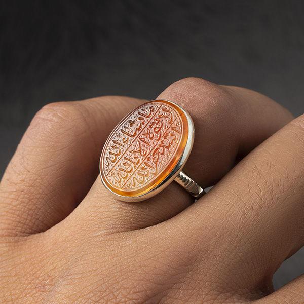 انگشتر مردانه عقیق پرتقالی یمانی دست ساز