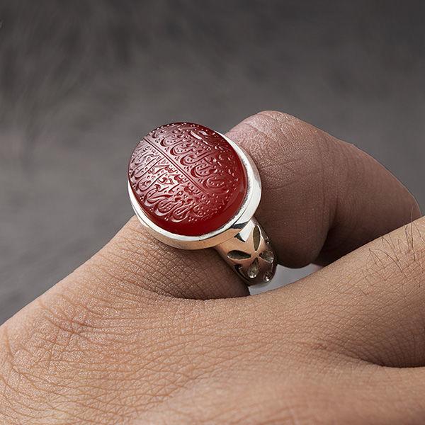 انگشتر مردانه عقیق قرمز یمانی خطی دستساز