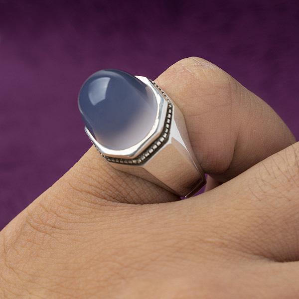 انگشتر مردانه عقیق کبود یمانی دست ساز